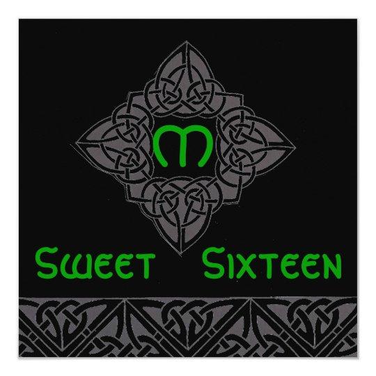 Sweet Sixteen Celtic Style Invitation Card-Cust.
