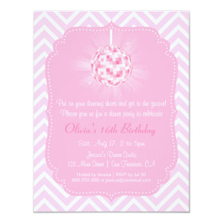 Sweet Sixteen Chevron Disco Dance Birthday Party Card