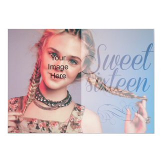 Sweet Sixteen Girly Script Put Your Own Photo Card