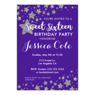 Sweet Sixteen Glitter Star Birthday Invitation