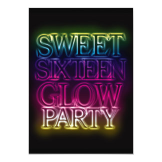 Sweet Sixteen GLOW PARTY Glow in the Dark Card
