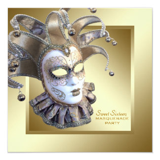 Sweet Sixteen Gold Masquerade Party Card