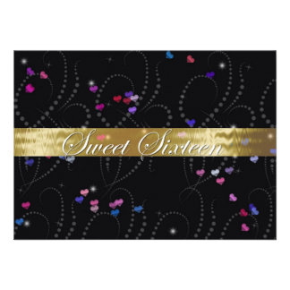 Sweet Sixteen Invitation Elegant Black Gold Custom Announcements