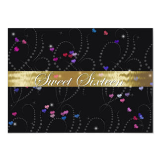 "Sweet Sixteen Invitation Elegant Black & Gold 4.5"" X 6.25"" Invitation Card"