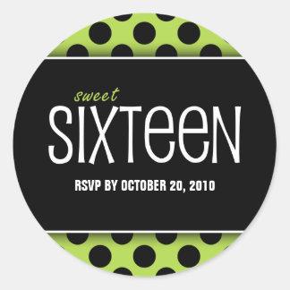 Sweet Sixteen Lime Green Dot | RSVP Envelope Seals Round Sticker