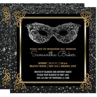 Sweet Sixteen Masquerade Ball Sweet 16 Silver Gold Card