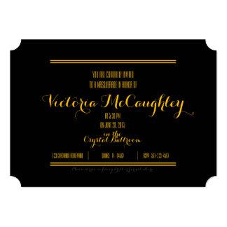 sweet sixteen MASQUERADE TICKET invitation GOLD