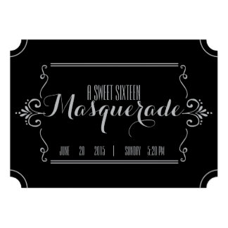 sweet sixteen MASQUERADE TICKET invitation SILVER