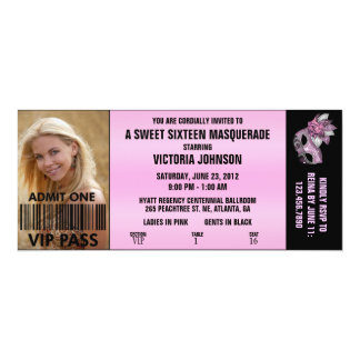 Sweet Sixteen Masquerade VIP Admission Ticket Invite
