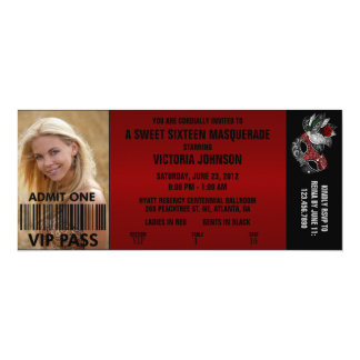 Sweet Sixteen Masquerade VIP Admission Ticket Personalized Invites