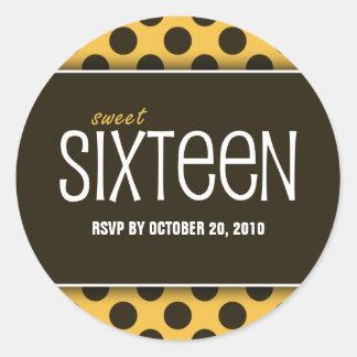 Sweet Sixteen Orange & Brown | RSVP Envelope Seals Round Sticker