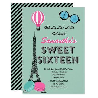Sweet Sixteen Paris Happy Birthday Invitation Card