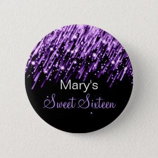 Sweet Sixteen Party Falling Stars Purple 6 Cm Round Badge