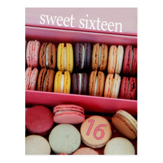Sweet Sixteen Party Invitation macaron Post Card