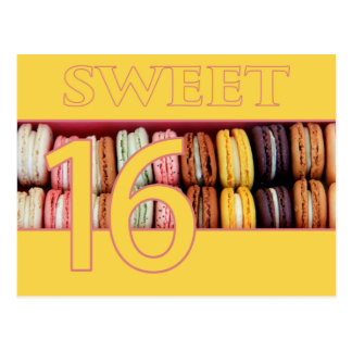 Sweet Sixteen Party Invitation macaron Post Cards