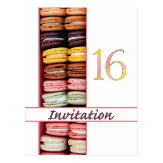 Sweet Sixteen Party Invitation macaron Postcards