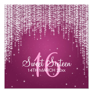 Sweet Sixteen Party Night Dazzle Pink 13 Cm X 13 Cm Square Invitation Card