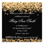 Sweet Sixteen Party Shimmering Gold Lights Personalized Announcement