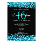 Sweet Sixteen Party Sparkles Turquoise Invites
