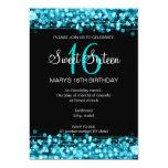 Sweet Sixteen Party Sparkles Turquoise Invites