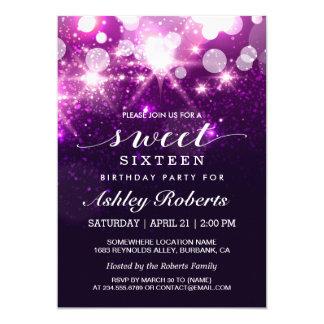 Sweet Sixteen Party Trendy Purple Glitter Sparkles 13 Cm X 18 Cm Invitation Card