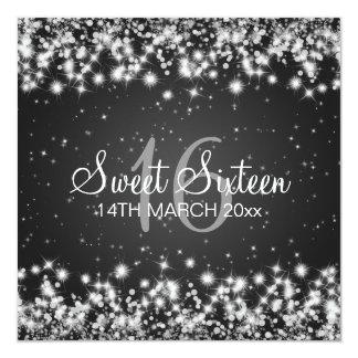 Sweet Sixteen Party Winter Sparkle Black 13 Cm X 13 Cm Square Invitation Card