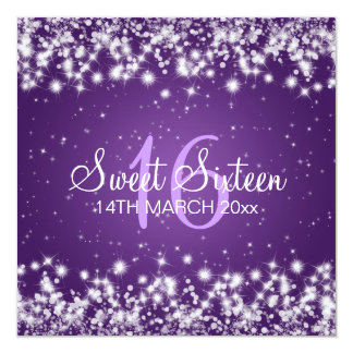 Sweet Sixteen Party Winter Sparkle Purple 13 Cm X 13 Cm Square Invitation Card