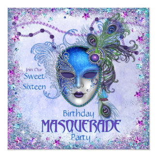 Sweet Sixteen Peacock Masquerade Party 13 Cm X 13 Cm Square Invitation Card