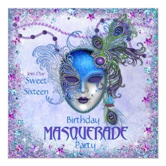 Sweet Sixteen Peacock Masquerade Party Custom Invitations