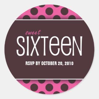 Sweet Sixteen Pink & Chocolate RSVP Envelope Seals Round Sticker