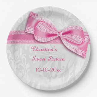 Sweet Sixteen Pink Damask and Faux Bow Paper Plate