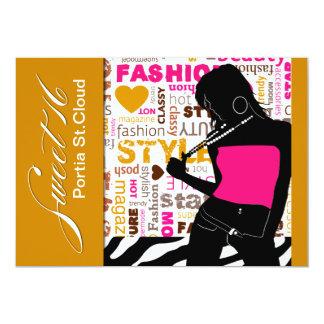 Sweet Sixteen Posh Popp Zebra fuschia | gold 13 Cm X 18 Cm Invitation Card