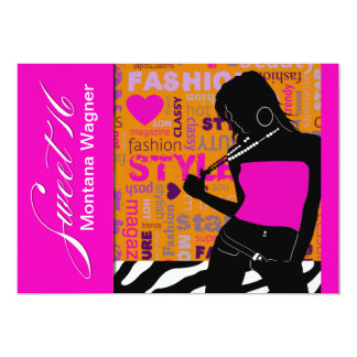 Sweet Sixteen Posh Popp Zebra hot pink | orange Card