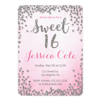 Sweet Sixteen Silver Sparkle Glitter Invitation