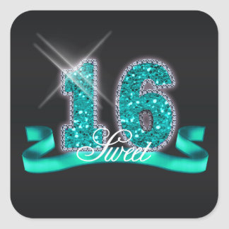 Sweet Sixteen Sparkle Teal ID120 Square Sticker
