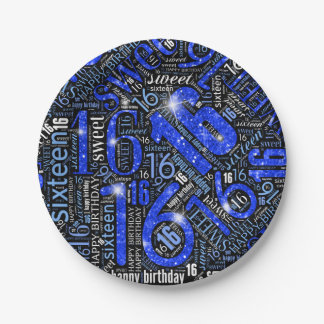 Sweet Sixteen Sparkle Word Cloud Blue ID265 Paper Plate