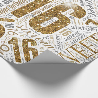 Sweet Sixteen Sparkle Word Cloud Gold White ID265 Wrapping Paper