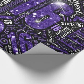 Sweet Sixteen Sparkle Word Cloud Purple ID265 Wrapping Paper