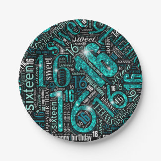 Sweet Sixteen Sparkle Word Cloud Teal ID265 Paper Plate