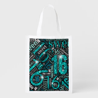 Sweet Sixteen Sparkle Word Cloud Teal ID265 Reusable Grocery Bag