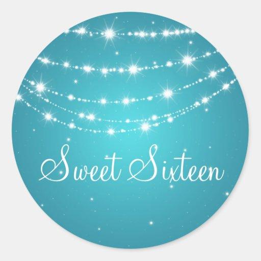 Sweet Sixteen Sparkling Chain Blue Round Stickers