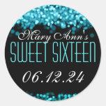 Sweet Sixteen Sparkling Lights Blue Sticker