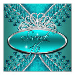 Sweet Sixteen Sweet 16 Birthday Teal Blue Tiara Personalized Invitation
