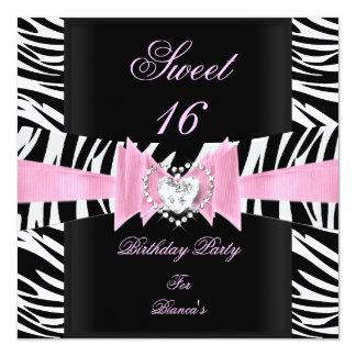 Sweet Sixteen Sweet 16 Pink Black White Zebra Card