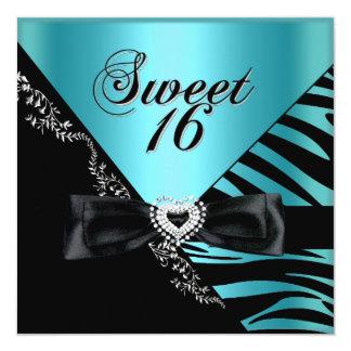 Sweet Sixteen Sweet 16 Zebra Blue Black Card