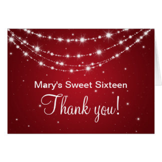 Sweet Sixteen Thank You Sparkling Chain Red Card