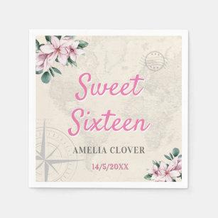 Sweet Sixteen Travel Pink Girl 16th Birthday Party Napkin