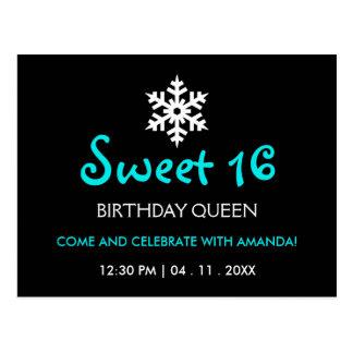 Sweet Sixteen - Wintery Frozen Snowflake Postcard