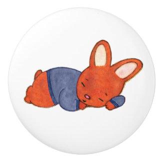 Sweet Sleeping Baby Boy Bunny Ceramic Knob