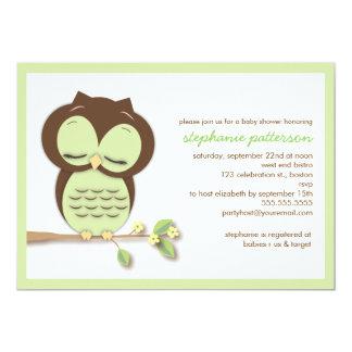 Sweet Sleepy Green Owl Neutral Baby Shower Card